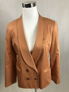 J.CREW 100% Cotton Off White/Light Beige Double Breasted Lined Jacket Size - 10