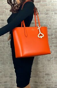 KATE SPADE NEW YORK BREANNA LEATHER TOTE SHOULDER BAG PURSE $329 Coral