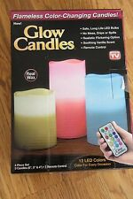 Glow Candles Flameless Color Changing Set of 3! Remote Control! Auto Timer! NEW!
