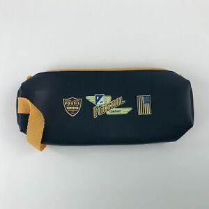 Fossil Pencil Pen Case Pouch Travel Carrying Bag w Strap Zipper Closure Blue