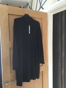 BNWT ZARA SUPER SOFT BLACK HIGH NECK JUMPER DRESS LARGE = 14-16