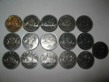 Old Canada Coins Au/ Unc Dollars 16pc 1960s 70s Lot Nickel Canadian Foreign Mix
