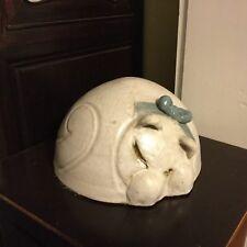 Vintage Stoneware Cat Figurine Studio Pottery Ceramic Round Curled Sleeping Cat