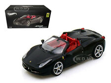 FERRARI 458 ITALIA SPIDER BLACK ELITE EDITION 1/43 MODEL CAR BY HOTWHEELS W1184