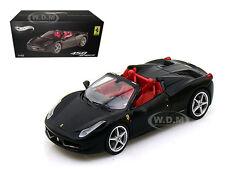 FERRARI 458 ITALIA SPIDER BLACK ELITE EDITION 1/43 MODEL CAR BY HOTWHEELS W1184