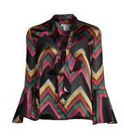 "Alice + Olivia ""Merideth"" Chevron Print Tie Neck Silk Blend Blouse Size M NWT"