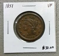 1851 U.S. BRAIDED HAIR LARGE CENT ~ VF CONDITION! $2.95 MAX SHIPPING! C797