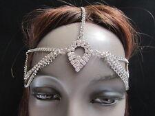 WOMEN SILVER METAL HEAD CHAIN HAIR FASHION JEWELRY WATER BLING DROP OVAL SHAPE