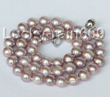 """natural 17"""" 10mm round purple freshwater pearls necklace magnet clasp E9102"""