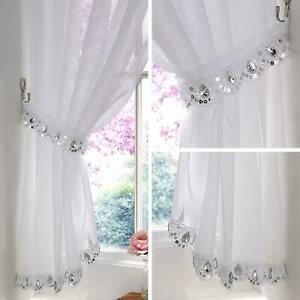 Jewelled Voile Curtain Crystal Sparkle Bling Panels Ready Made Slot Top Curtains
