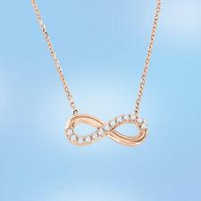 Unendlichkeit Halskette Collier mit Zirkonia Russische Rosegold 585