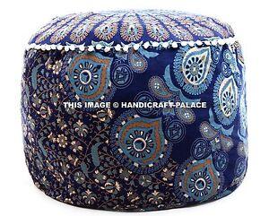 Indien Pouf Ottomane Rond Décorative Paon Mandala Imprimé Bleu Tabouret Housse