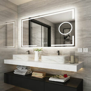 1200x700mm LED Bathroom Mirror Lighted Wall Mirror Touch Anti-fog magnifier IP44
