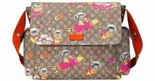 Gucci Space Cats Cat GG Canvas Diaper Bag Baby Beige Multicolor Orange Italy New