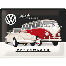 Nostalgic Art VW BULLI T1 UND KÄFER CABRIOLET MEET THE CLASSICS 30 x 40 #