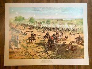 Vintage 1997 Repro Historic Print Poster Battle of Gettysburg Hancock Pickett
