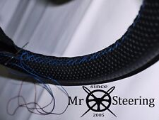 FITS RELIANT SCIMITAR PERFORATED LEATHER STEERING WHEEL COVER L BLUE DOUBLE STT