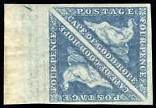 """Cabo de Buena Esperanza 1864 """"triangulares"""" 4d Azul marginal par MLH. SG 19a."""