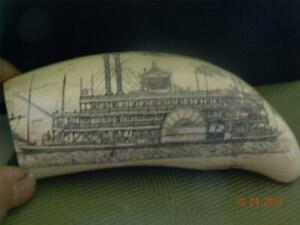 """Scrimshaw whale tooth resin replica """" MISSISSIPPI PADDLE WHEELER"""" 7"""" DETAILED"""