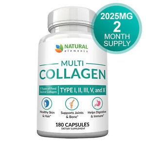 Collagen Capsules - Collagen Pills - 2 Month Supply - Type I, II, III, V, X