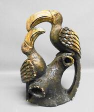 More details for antique indigenous hand carved large hardstone sculpture of toucans