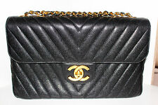 Chanel Black Chevron - Caviar Skin - Vintage Jumbo XL Flap Bag