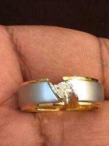 0.25 Cts Round Brilliant Cut Natural Diamond Men's Wedding Ring In 14Carat Gold
