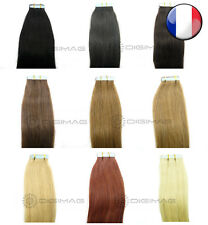 10,20,30,40 EXTENSIONS TAPE BANDES ADHESIVES CHEVEUX NATURELS REMY HAIR 53/60 CM