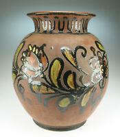 60er Jahre XL Keramik Vase mit Blumen Hippie Boho Flower Power Ceramics Pottery