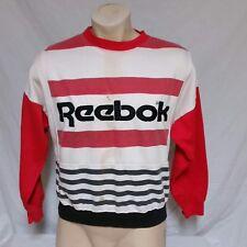 VTG Reebok Sport Sweatshirt 90s Spell Out Striped 80s Golf Shaq Iverson Small