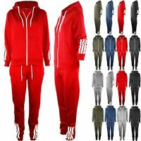Womens Ladies Hooded Contrast Side 4 Stripes Zip Up Pockets Loungewear Tracksuit
