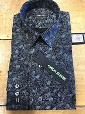 "REMUS UOMO® Fashion Printed Shirt/Charcoal Black - 16.5"" Large Slim Fit NEW AW18"