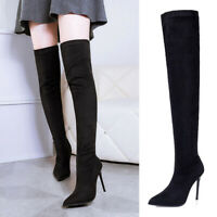 Womens Ladies Over The Knee Thigh Boots Elastic Stretch Point-Toe Stiletto Shoes