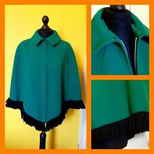 Vintage 50's 60's Green Wool Fringed Zip Front Short Cape UK 8/10 Mod Carnaby