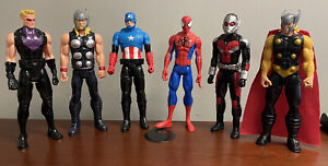 "Lot of (6) 12"" Avengers Marvel Comic Action Figures Captain America Spiderman"