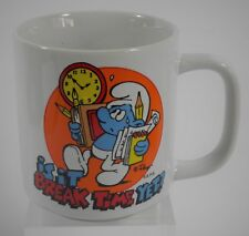 VINTAGE SMURFS CERAMIC MUG IS IT BREAK TIME YET? WALLACE BERRIE (1981)