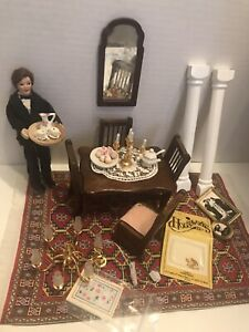 Vintage Victorian Dollhouse Miniatures lot With Butler Doll 1:12