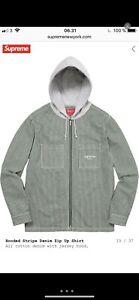 Supreme Hooded Striped Denim Zip Up Shirt Green Large