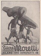 Z4039 Tende da campo Ettore MORETTI - Illustrazione - Pubblicità - 1936 old ad