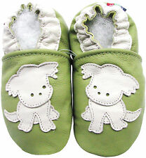 carozoo puppy green 18-24m C1 soft sole leather baby shoes