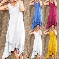 US Women's Sleeveless Boho Party Casual Linen Kaftan Maxi Dress Long Dresses