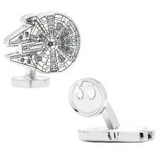 Official Star Wars Millennium Falcon Blueprint Rhodium Plated Cufflinks - Boxed