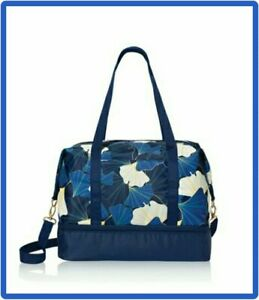 Navy Blue & Bright Blues Floral Gym Tote Bag with Detachable Handle - Brand New