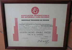 D683 : 1 X CERTIFICAT TECHNIQUE DE RECORD : CITROËN 1933 : MONTLHERY : YACCO .