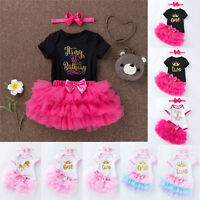 Newborn Baby Girls Birthday Party Outfits Sets Dress Romper Tutu Skirt Headband