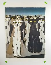 Vintage Tomoo Inagaki Cat Woodblock Print Poster Japan Art Audience of Cats 25in