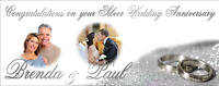 Large Custom Made Silver Wedding Anniversary Banner Decoration 25th