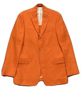 NEW Polo Ralph Lauren Soft Linen Sport Coat Blazer  Men M  Orange  Made In Italy