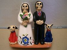 Day of the Dead Skeleton Bride and Groom Wedding with Pets Dog Cat Muertos