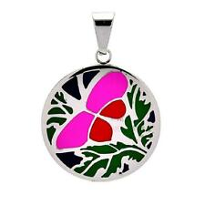 Stainless Steel Multi Color Butterfly Disc Pendant, Free Bead Ball Chain